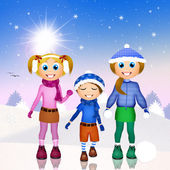 Children playing with snow — Stock Photo