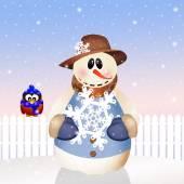 Snowman in winter — Stock Photo