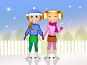 Girls skating on ice — ストック写真