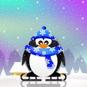 Penguin skating on ice — Stock Photo