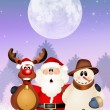 Santa Claus, snowman and reindeer — Stock Photo #58432013