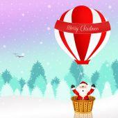 Santa Claus on a hot air balloon — Stock Photo