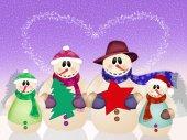 Family of snowman — Zdjęcie stockowe