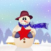 Bonhomme de neige avec étoile — Photo