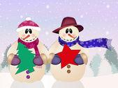 Snowman couple — Zdjęcie stockowe