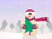 Snowman with Christmas tree — Zdjęcie stockowe