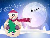 Snowman in winter landscape — 图库照片