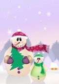 Snowman's family — Stockfoto