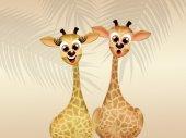 Giraffe in love — Stock Photo
