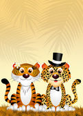 Tiger and leopard in love — Stock Photo