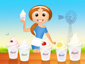 Selling yogurt — Stock Photo