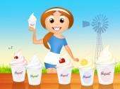 Selling yogurt — Stockfoto
