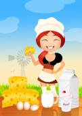 Girl sells dairy products — Stockfoto