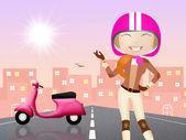 女の子のモーターサイク リスト — ストック写真