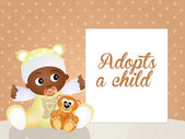 Adopts a child — Stock Photo