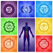 Seven chakras collage — Stock Photo