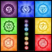 Seven chakras collage — Stock Photo
