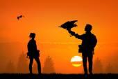 Falconry at sunset — Stock Photo