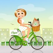 Vegan girl on bike — Stock Photo