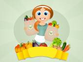 Girl with vegetables — Stock Photo