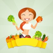 Girl eat vegetables — Stock Photo