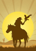 Falconry in the desert — Stock Photo