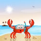 Crab with scuba mask — Stock Photo