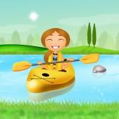 Girl with a kayak — Stock Photo
