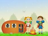 Camping with caravan — Stock Photo