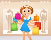 Girl goes shopping — Stock Photo