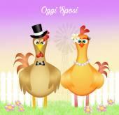 Svatba kuřat — Stock fotografie