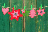 Garland of christmas ornaments — Stock Photo