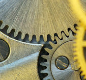 Background with metal cogwheels a clockwork. — Stock Photo