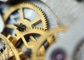 Metallic background mit metall-zahnrädern ein uhrwerk. makro — Stockfoto