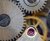 Metallic Background with metal cogwheels a clockwork. Macro — Stock Photo