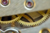 Background with metal cogwheels a clockwork. Conceptual photo — Stok fotoğraf