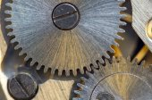 Background with metal cogwheels a clockwork. Conceptual photo — Stock Photo