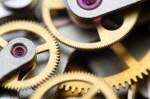 Background with metal cogwheels a clockwork. Conceptual photo — Stockfoto