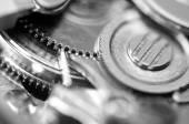 Pozadí s kovová ozubená mechanický. makro — Stock fotografie