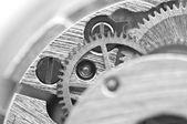 Macro, Black white background with metal cogwheels — Stock Photo