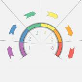 Infographic template six positions arrows and semicircle — Stock Photo
