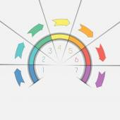Infographic template seven positions arrows and semicircle — Stock Photo