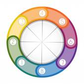 Infographic multi-coloured ring eight positions — Stock Photo