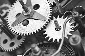 Black white Cogwheels Clockwork. Macro — Stock Photo