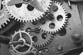 Black white Cogwheels Clockwork. Macro — Stock Photo