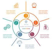 Multi gekleurde ring Infographic vijf posities — Stockvector