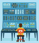 Vector illustration of work place sound engineer's. Mixing console. Analog synthesizer — Stock Vector