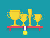 Trophy and awards on shelf. Flatstyle — Cтоковый вектор