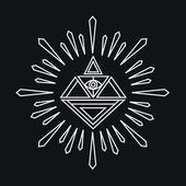 Vector linear abstract hipster logo template - magical diamond — Stock Vector