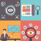 Set of analytics information and data handling symbols  — Stock Vector